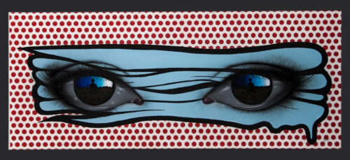 Living Art - My Dog Sighs - Untitled (blue on red)